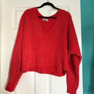 Urban outfitters bright coral knit sweater